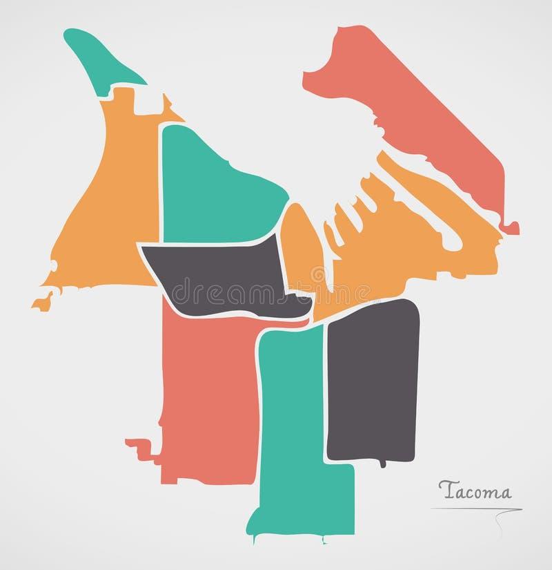 Tacoma Washington Map with neighborhoods and modern round shapes. Illustration vector illustration