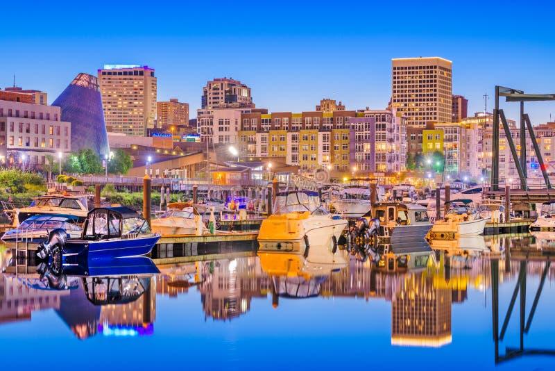 Tacoma, Washington, orizzonte di U.S.A. fotografie stock libere da diritti