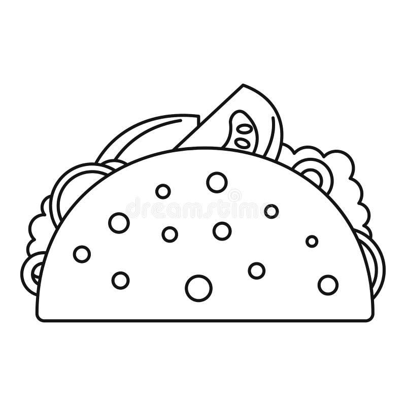 Tacomatsymbol, översiktsstil stock illustrationer