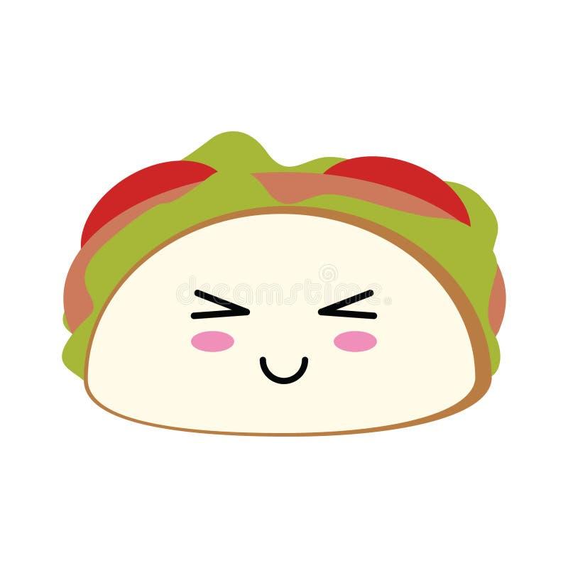 Tacon mexican food kawaii cartoon vector illustration