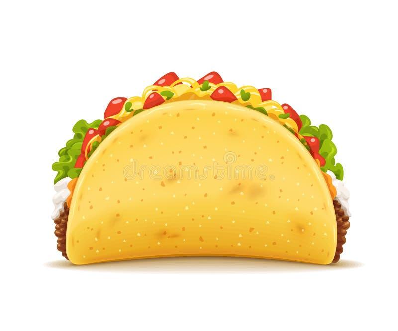 Tacos με το κρέας και το λαχανικό Παραδοσιακό μεξικάνικο γρήγορο γεύμα απεικόνιση αποθεμάτων