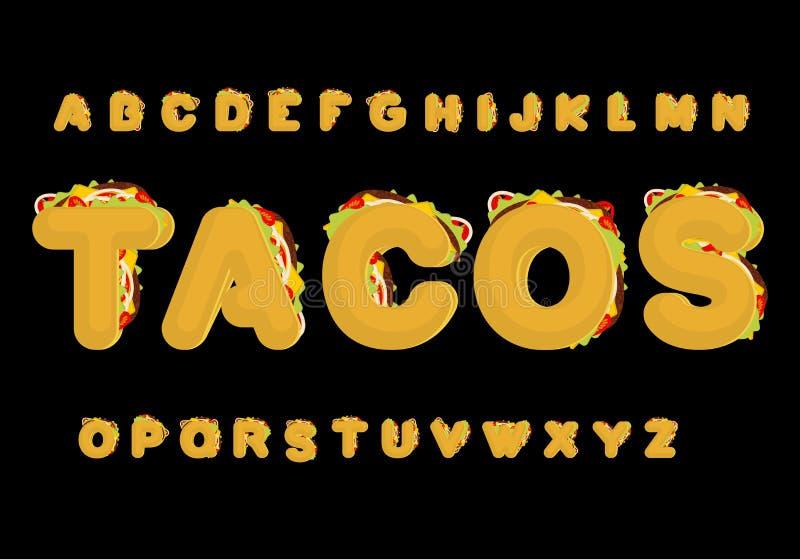 Tacos abecadło Taco chrzcielnica Meksykański fast food ABC tradycyjny Ja royalty ilustracja