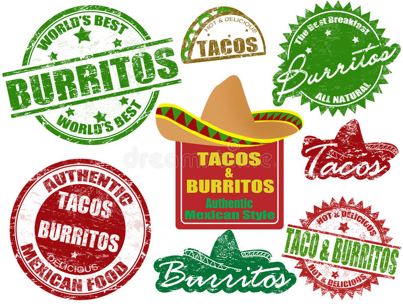 Tacos and burritos stamps vector illustration