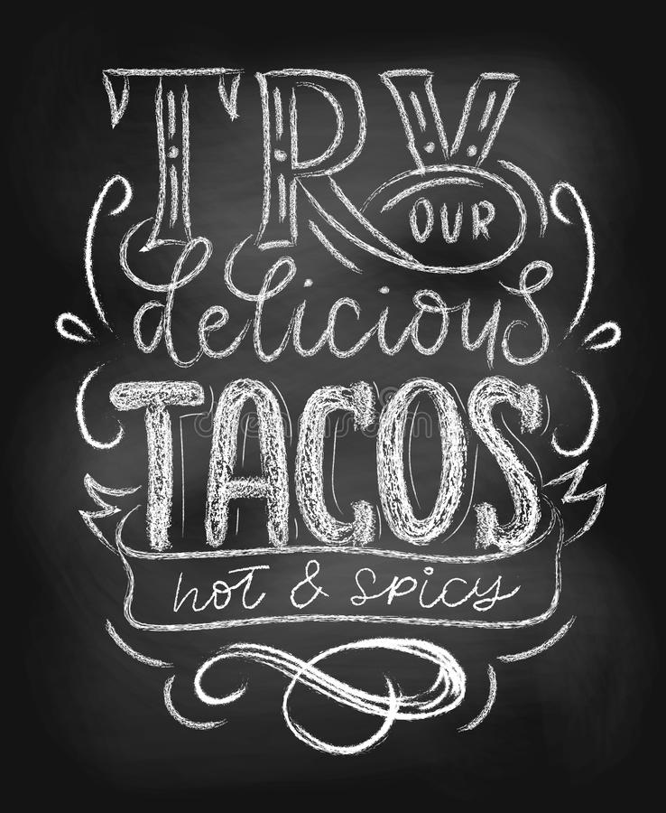 Tacos chalkboard plakat royalty ilustracja
