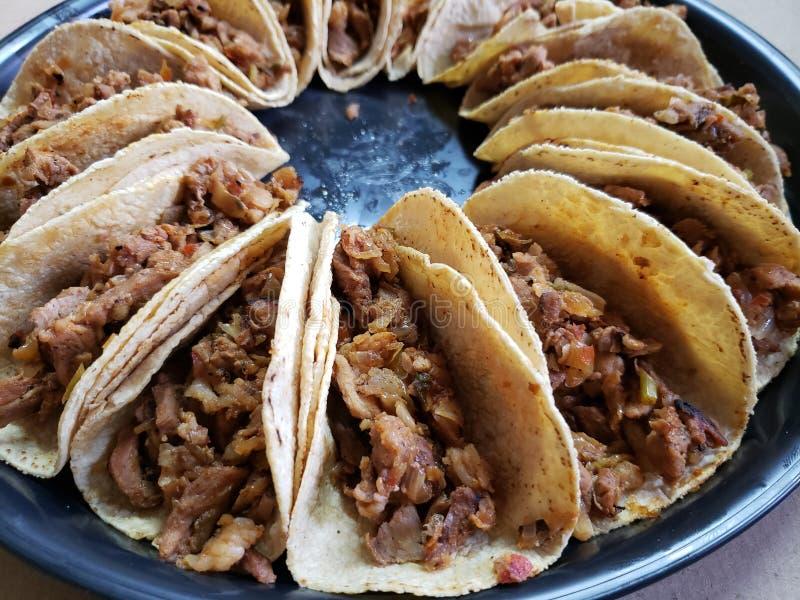 Tacos com a tortilha de milho, enchida com carne de porco, alimento mexicano tradicional fotografia de stock