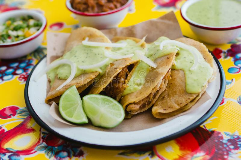 Tacos de canasta is traditional mexican food in Mexico city. Street food stock image