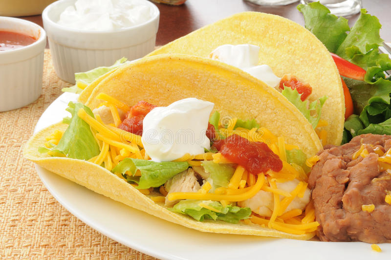 Tacos de poulet images libres de droits