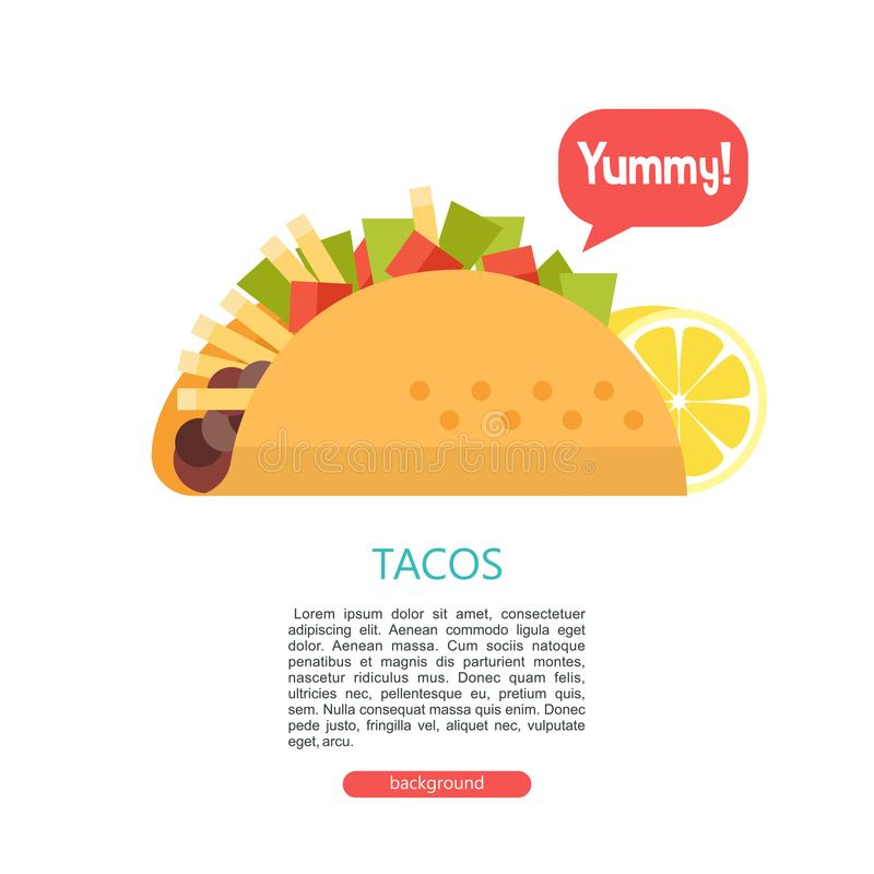 Tacos. Delicious Mexican fast food in corn tortillas. Vector il royalty free illustration