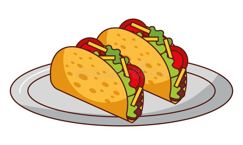 Tacos in dish mexican food traditional royalty free illustration