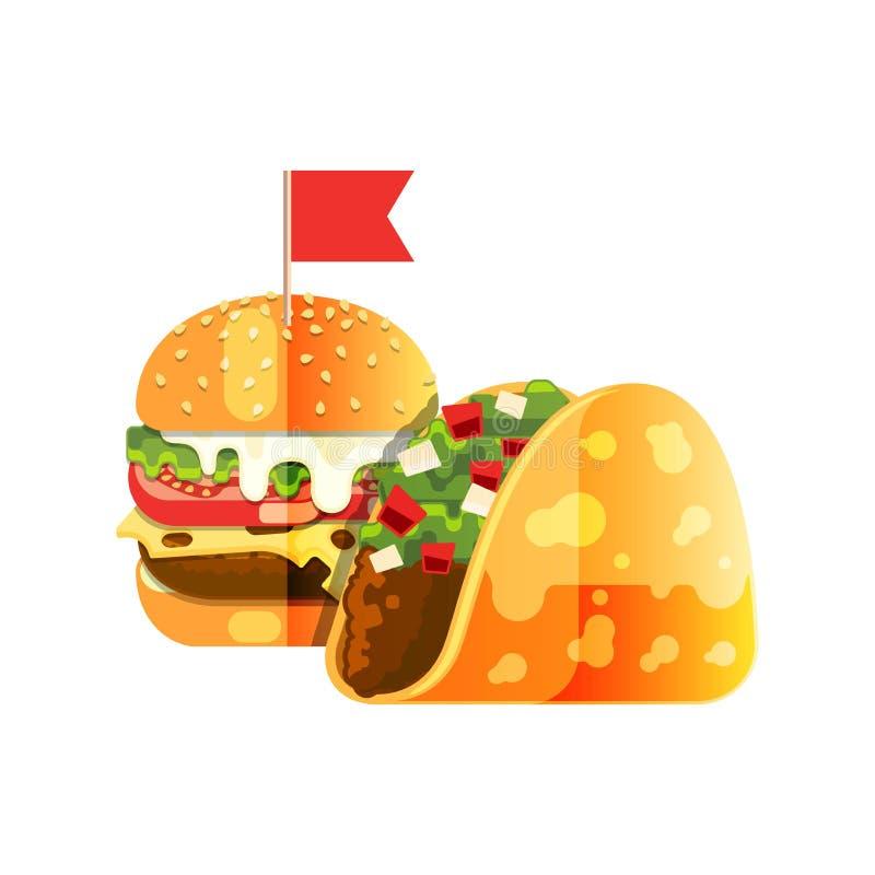 Tacos e hamburguer ilustração stock
