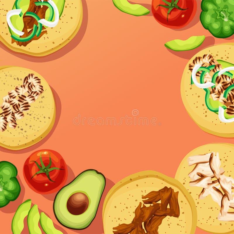 Tacos e vegetais da rua no fundo alaranjado vermelho fotografia de stock