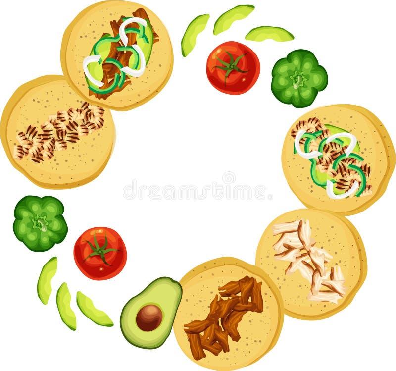 Tacos e vegetais mexicanos da rua no arranjo circular fotos de stock