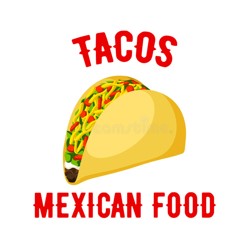 Tacos fasta food meksykańskiego wektoru odosobniona ikona ilustracja wektor