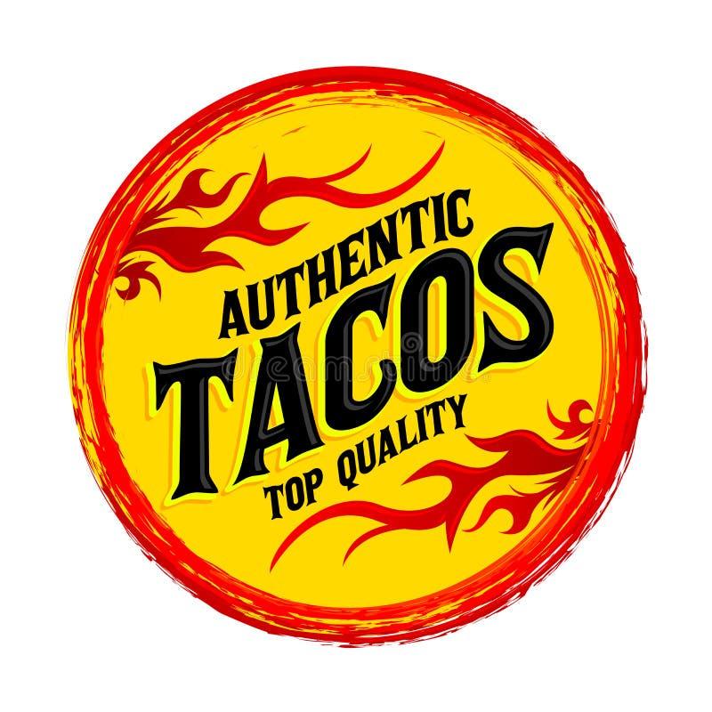 Tacos ikony emblemat, Grunge pieczątka, korzenny meksykanina stylu jedzenie ilustracji