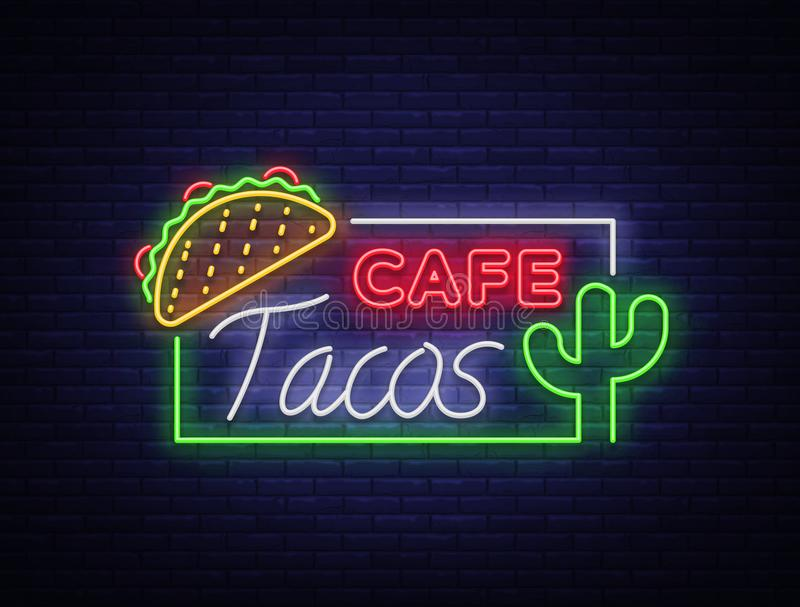 Tacos logo in neon style. Neon sign, symbol, bright billboard, nightly advertising of Mexican food Taco. Mexican street vector illustration
