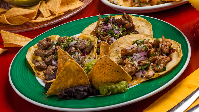 Tacos with meat and chicken. stock photos