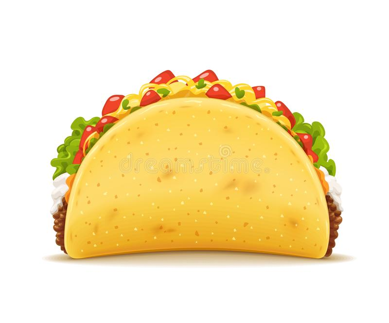 Tacos with meat and vegetable. Traditional mexican fast-food. Taco Mexico food with tortilla, leaves lettuce, cheese, tomato, forcemeat, sauce. Isolated white stock illustration