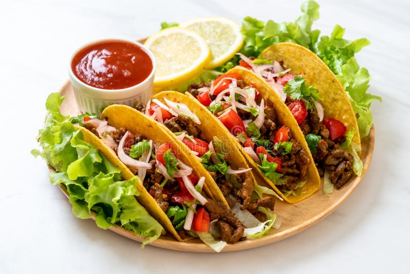 tacos with meat and vegetables stock photos