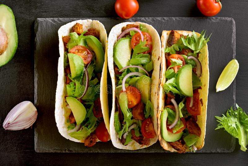 Tacos with meat and vegetables royalty free stock image