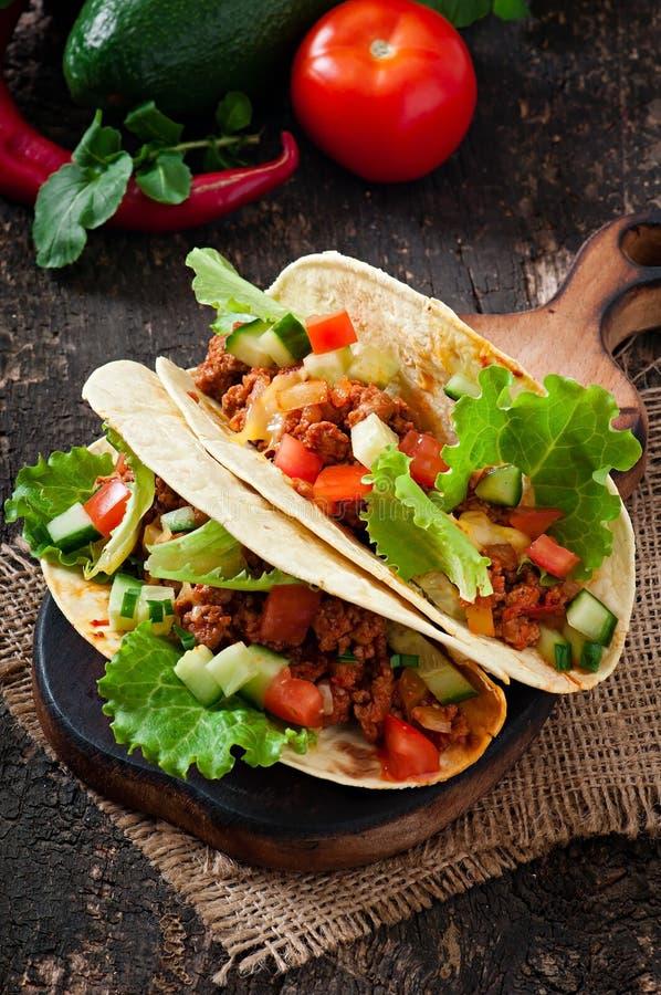 Tacos mexicain avec de la viande photo libre de droits
