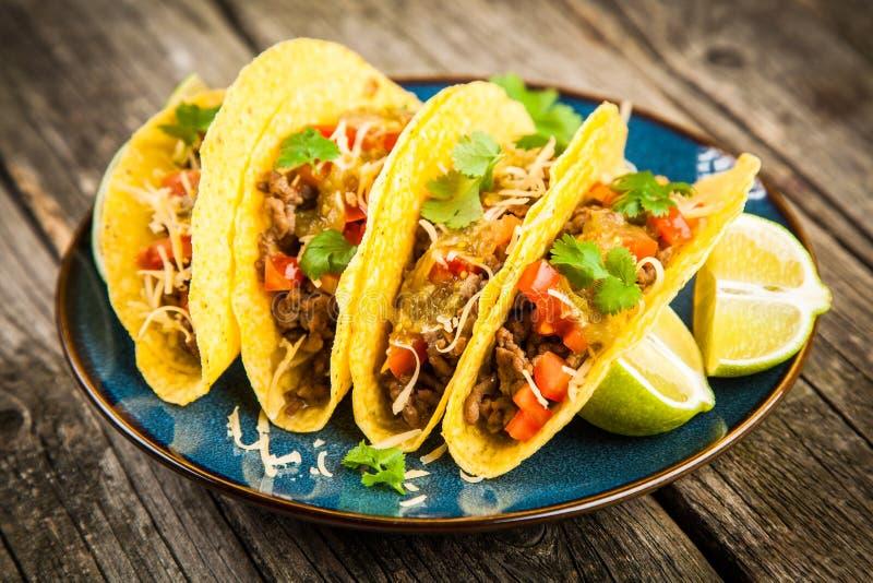 Tacos mexicain avec du boeuf images stock