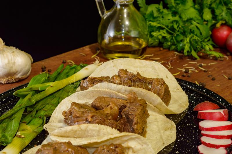 Tacos mexicain de boeuf images libres de droits