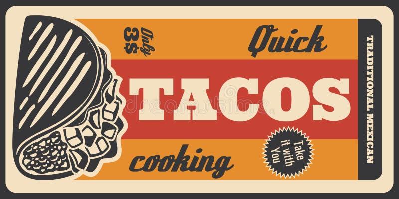 Tacos Mexican fastfood menu, retro vector poster stock illustration