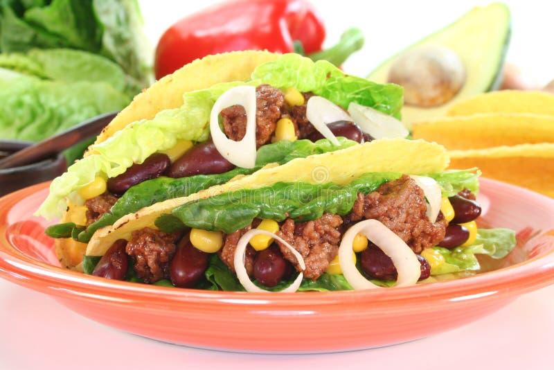 Tacos mexicano con la carne picada foto de archivo libre de regalías