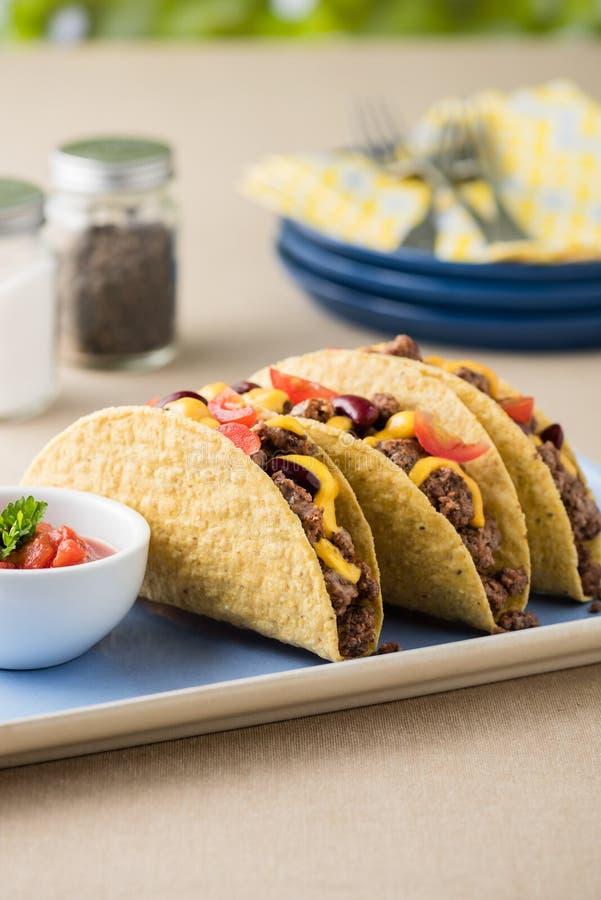 Tacos mexicanos com carne, queijo cheddar, tomate fotografia de stock royalty free