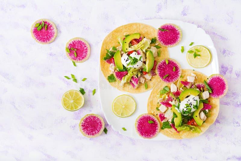 Tacos mexicanos saudáveis do milho com peito de frango, rabanete do abacate e da melancia e molho fervidos do iogurte imagens de stock