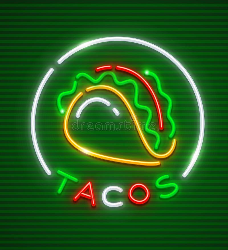 Tacos neon emblem. Mexican traditional cuisine logo royalty free illustration