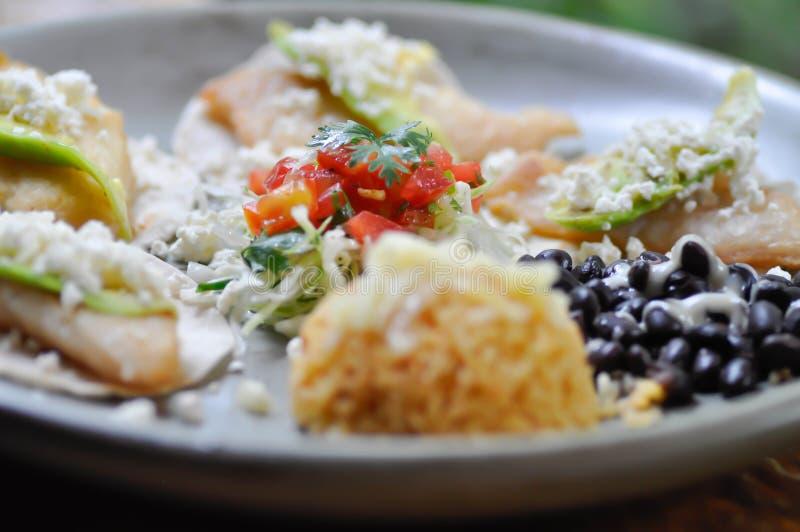 Tacos ou taco de poissons noirci avec le Salsa photo libre de droits