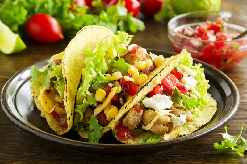 Tacos with pork. And tomato salsa royalty free stock photos