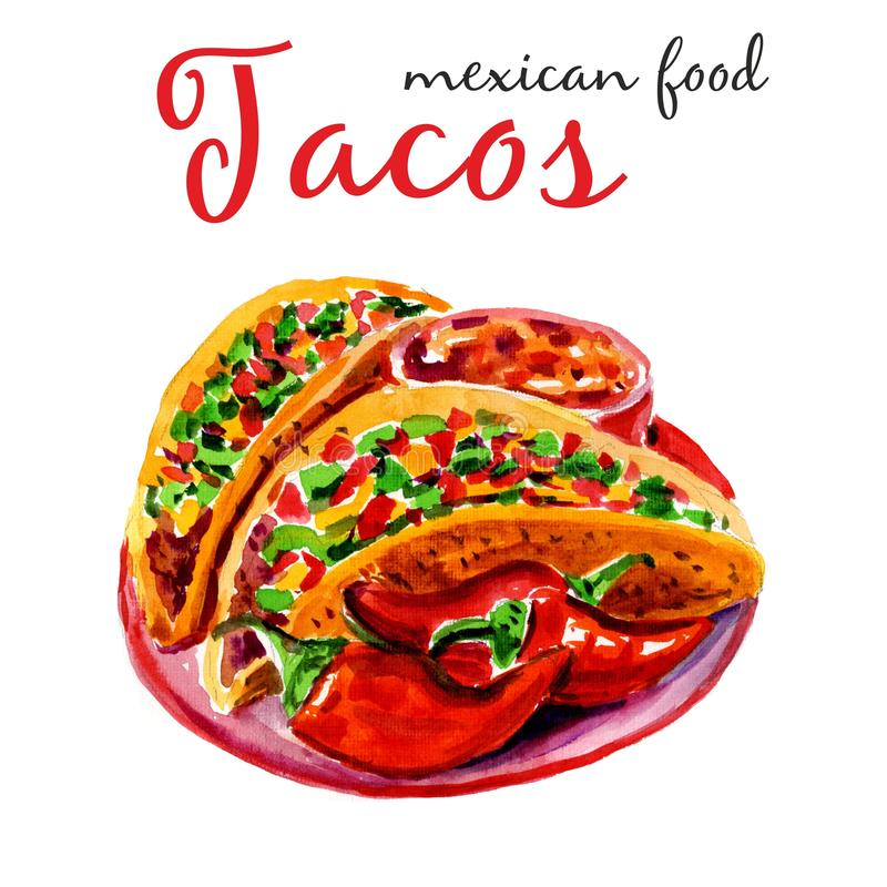 Tacos. Watercolor Illustration. Stylish design with sketch illustration of Mexican cuisine sketch. Tacos Isolated on white. vector illustration