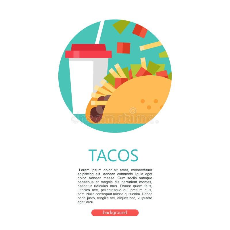 tacos Wyśmienicie Meksykański fast food w kukurydzanych tortillas Wektor il ilustracja wektor