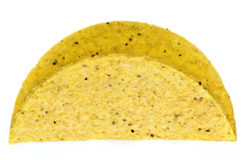 Tacoshell op Wit wordt geïsoleerd dat stock foto's