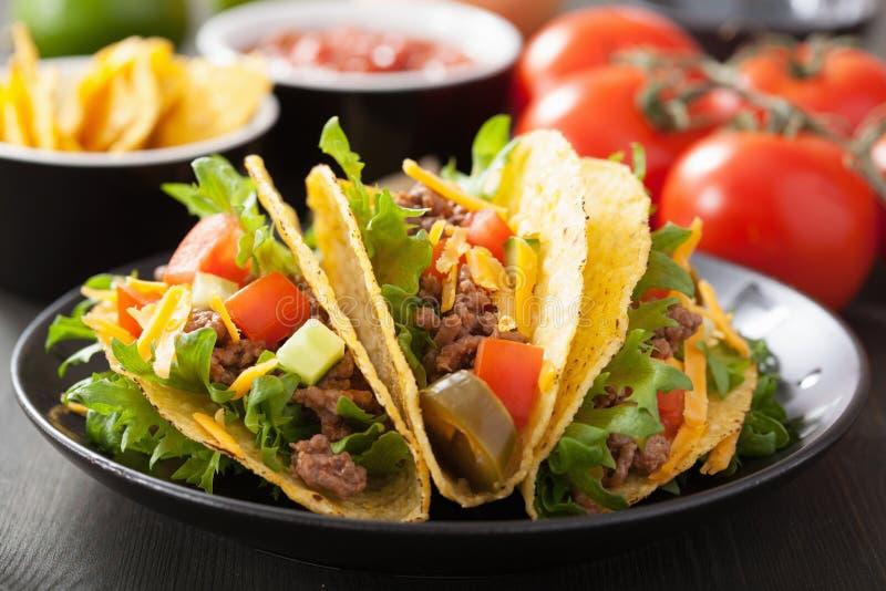 Tacoshells met rundvlees en groenten royalty-vrije stock afbeelding
