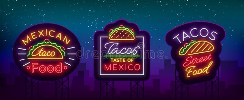 Tacouppsättning av neon-stil logoer Samling av neontecken, symboler, ljus affischtavla, annonsering nightly av mexicansk mat stock illustrationer