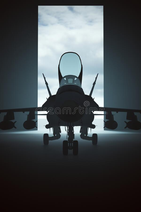 Free Tactical Jet Aircraft In A Dark Hanger Stock Images - 194797694