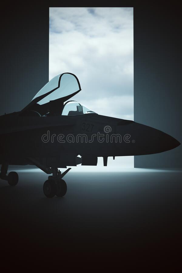 Free Tactical Jet Aircraft In A Dark Hanger Stock Photo - 194797910