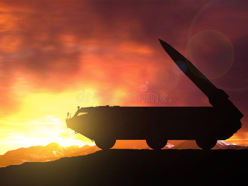Tactical Missile System is ready to attack. Tactical missile complex Tochka-U is ready to attack vector illustration