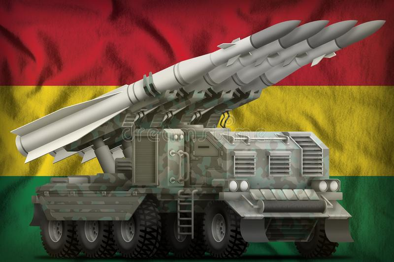 Tactical short range ballistic missile with arctic camouflage on the Bolivia national flag background. 3d Illustration. Tactical short range ballistic missile stock illustration