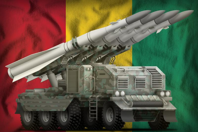 Tactical short range ballistic missile with arctic camouflage on the Guinea national flag background. 3d Illustration. Tactical short range ballistic missile stock images