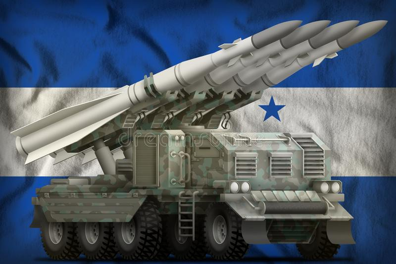 Tactical short range ballistic missile with arctic camouflage on the Honduras national flag background. 3d Illustration. Tactical short range ballistic missile stock illustration