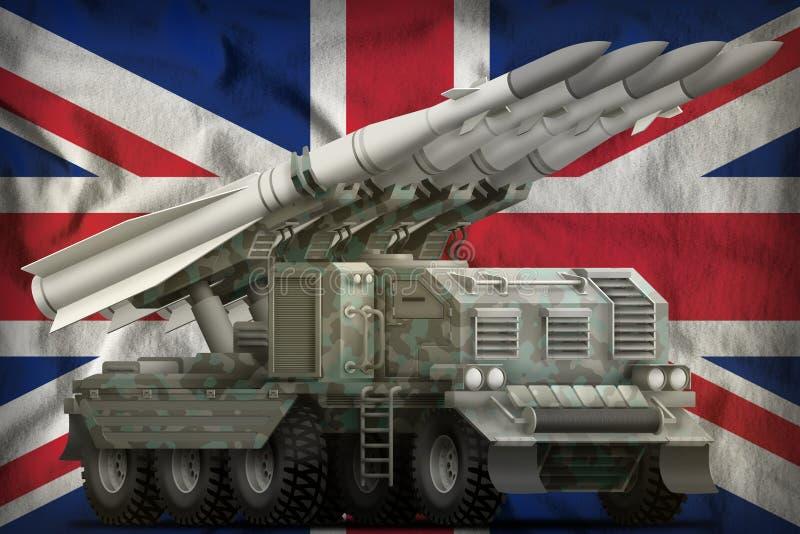 Tactical short range ballistic missile with arctic camouflage on the United Kingdom UK national flag background. 3d Illustration. Tactical short range ballistic royalty free illustration