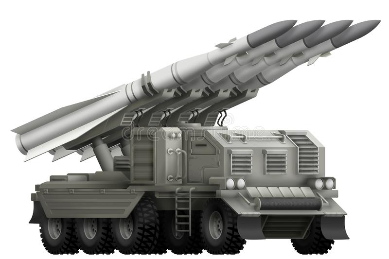 Tactical short range ballistic missile with fictional design - isolated object on white background. 3d illustration. Tactical short range ballistic missile vector illustration