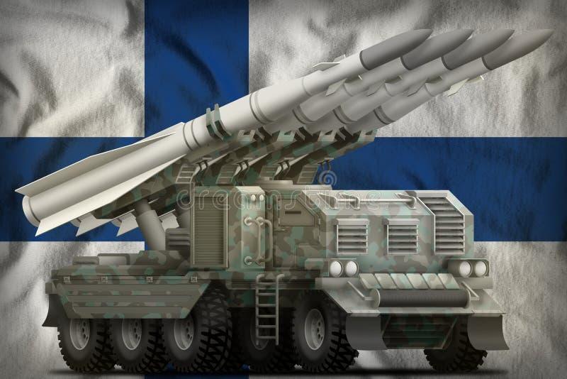 Tactisch ballistisch projectiel op korte termijn met noordpoolcamouflage op de nationale de vlagachtergrond van Finland 3D Illust vector illustratie