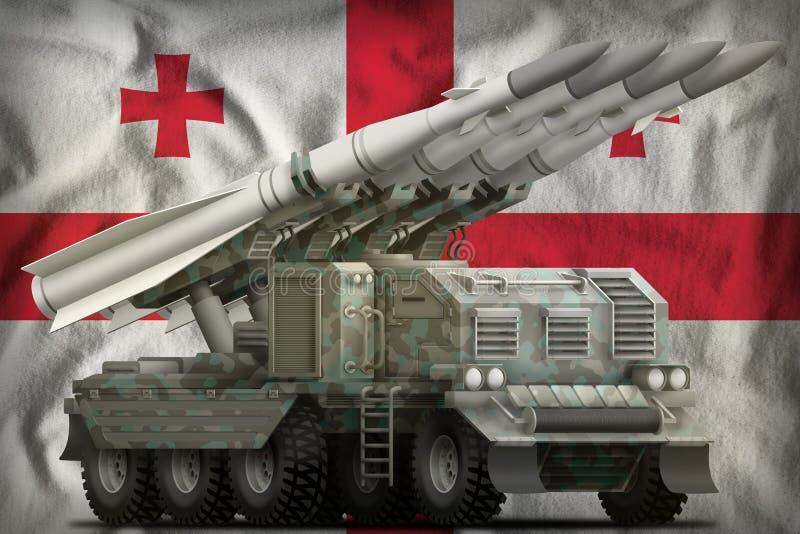Tactisch ballistisch projectiel op korte termijn met noordpoolcamouflage op de nationale de vlagachtergrond van Georgië 3D Illust vector illustratie