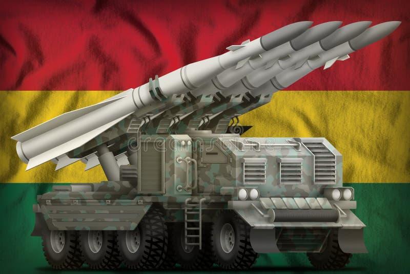Tactisch ballistisch projectiel op korte termijn met noordpoolcamouflage op de nationale de vlagachtergrond van Ghana 3D Illustra royalty-vrije illustratie