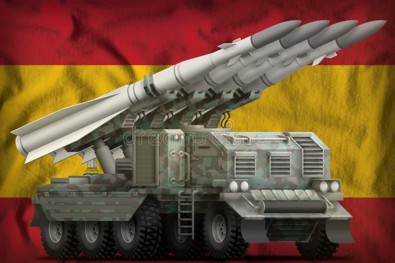 Tactisch ballistisch projectiel op korte termijn met noordpoolcamouflage op de nationale de vlagachtergrond van Spanje 3D Illustr vector illustratie